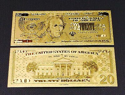 Beautiful Gold Leaf .999 24kt  US  $20 Twenty Dollar Bill Banknote + Sleeve