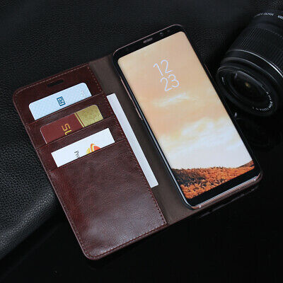 For Samsung Note9 S10 note8/S8 Genuine Leather Wallet Case Card Slot Flip Cover