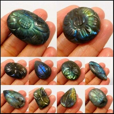 100% Natural Hand Carved Blue,Yellow,Green Flashy Labradorite 15047-69,18230-239
