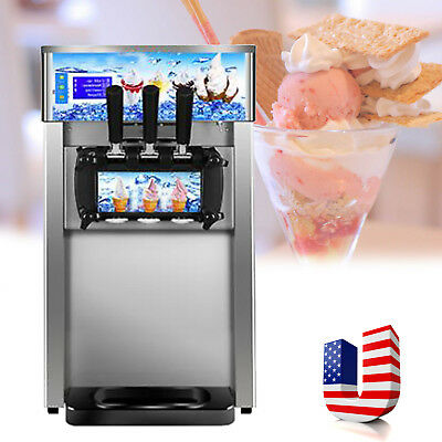 3 Flavor Commercial Frozen Hard Ice Cream Machine Maker 18L/H USA Shipping