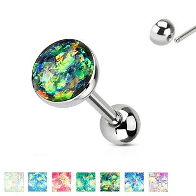 Imitation Opal Top 316L Surgical Steel Barbell / Tongue Ring