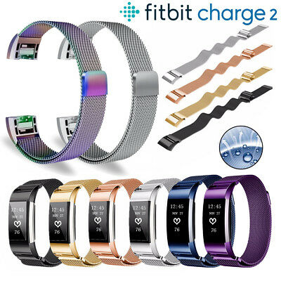 Magnet Lock Fitbit Charge 2 Strap Replacement Milanese Loop Band Stainless Steel