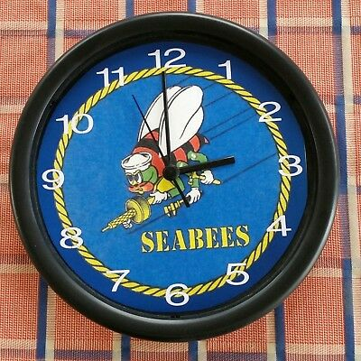 "NAVY SEABEES 10""Wall Clock #0166 Batteries Included NEW"