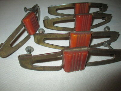 5 Bakelite & Brass Drawer Pull Handles Creamy Amber Butterscotch Scored Blocks