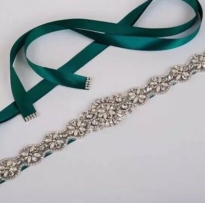 Bridal Wedding Bridesmaids Dress Rhinestone Crystal Pearl Sash Green Ribbon Belt