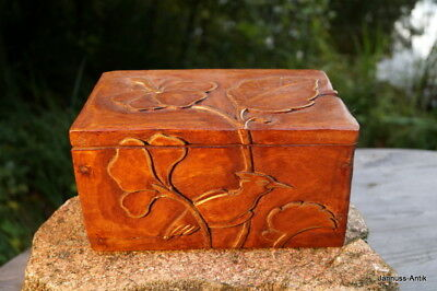 Exquisite Wood Chest Wooden Box Exotic Wood Gold Rim Handmade Fine & Valuable