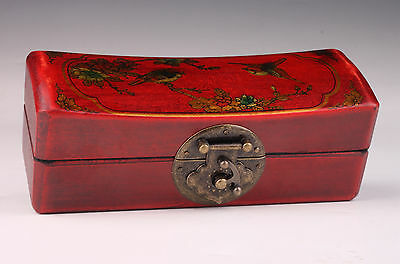 FANCY JEWELRY Box Red Flowers Birds Collection Gift Boxes Leather