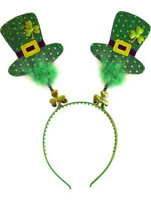St Patricks Day Ireland Irish Fancy Dress Boppers Head Wiggly Headband Mini Hats