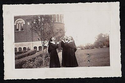 Old Vintage Antique Photograph Three Nuns in Habits Standing on Front Lawn