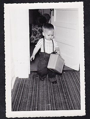 Old Vintage Antique Photograph Cute Little Boy in Suspenders Holding Lunch Box