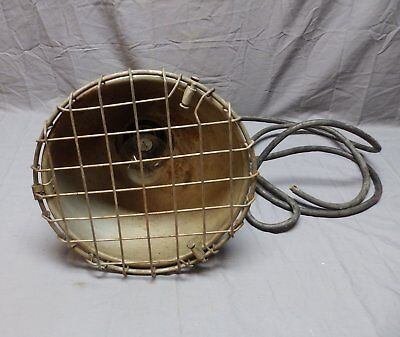 Vtg Industrial Cage Light Fixture Ship Deck Steampunk Old Maritime Metal 612-18P
