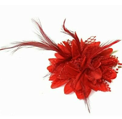 Red Feather Flower Fascinator Hair Clip Brooch Pin UK STOCK