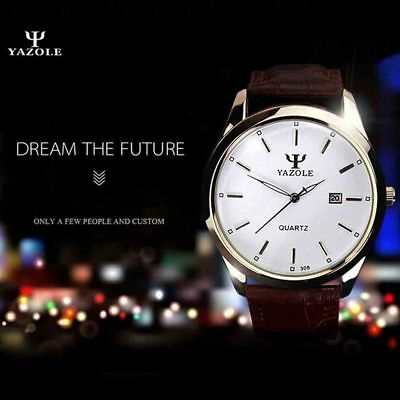 Luxury Quartz Leather Banded Business Wristwatch Casual Simple Calendar Gift