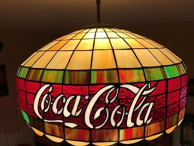 💗mint💗 Coca-Cola Coke Lead Stained Glass Tiffany Lamp Real Stained Glass!!!