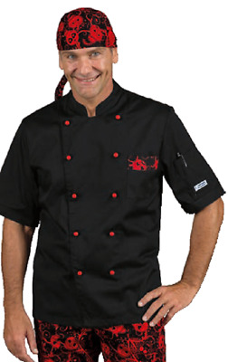 Giacca Cuoco Chef Atlanta Nero+Skull 07 Manica Corta Isacco Jacket Made In  Italy a7aac4c88257