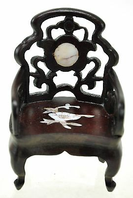 Vintage Chinese Natural Wood CHAIR INLAID miniature DOLL furniture Arm Chair