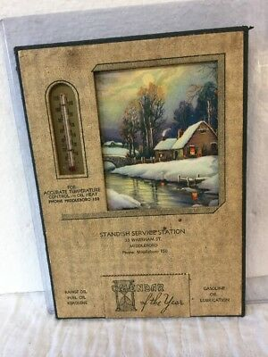 Antique 1940 Advertising Calendar Thermometer Auto Service Station Middleboro MA