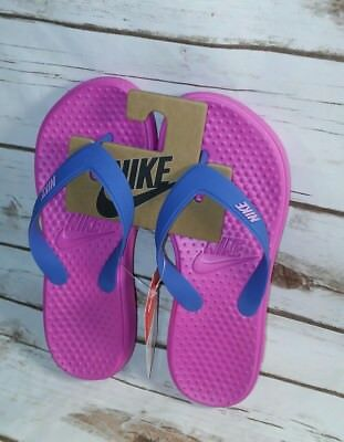 379434b4f3b4 NIKE FLIP FLOPS Solay Thong Sandals Pink Blue Women s 7-8-9-10-11 ...