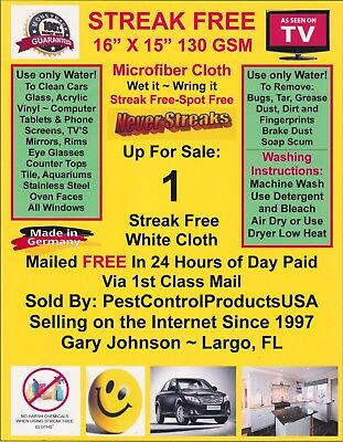 Streak Free MicroFiber Cleaning Cloth (1) FREE 1st Class Mail! Made in Germany!
