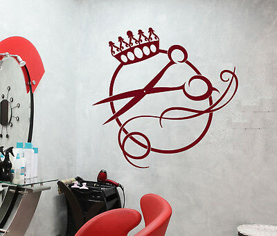 Vinyl Wall Decal Scissors Logo Haircut Hair Salon Barbershop Stickers (2459ig)