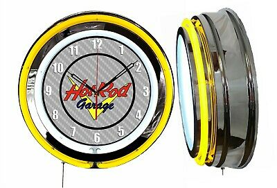 "Hot Rod Garage 19"" Double Neon Clock Yellow Neon Chrome Finish"