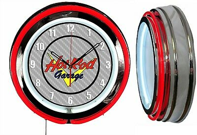 "Hot Rod Garage 19"" Double Neon Clock Red Neon Chrome Finish"