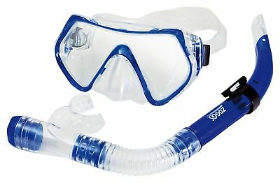 Zoggs Reef Explorer Snorkel Mask Set with Anti-Fog and UV Protection, Blue/Cl...
