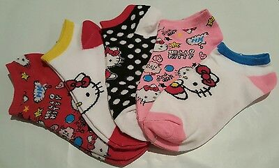 AUTHENTIC Sanrio HELLO KITTY Girls Women No-Show/Ankle Socks 5-Pack, size 6-8.5