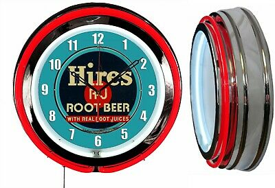 """Hires Root Beer 19"""" Double Neon Clock Red Neon Chrome Finish"""