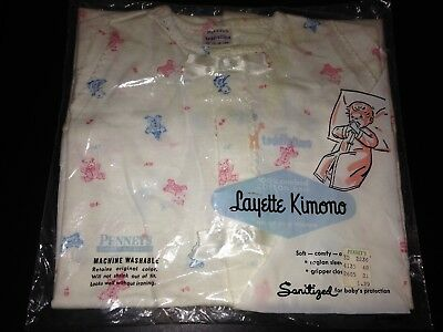 Vintage Penney's Toddletime 100% Combed Cotton Knit Layette Kimono New In Packag