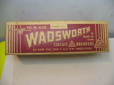 10 Never Used Wadsworth 20 Amp 120/240 Single Pole Circuit Breakers In Box