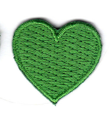 """GREEN HEART (1"""") - Iron On Embroidered Patch - Irish, Miniatures, Love"""