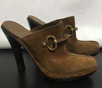 aa0649a7c Gucci Light Brown Suede Horsebit Platform Clog Mules Size 8 1/2 B Italy  115173