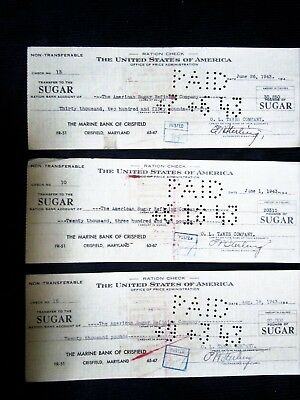 3 1943 SUGAR RATION checks The Marine Bank of Crisfield MD.  O.L. TAWES CO.