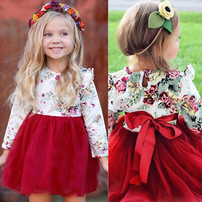 Toddler Baby Girl Floral Printing Sleeve Tulle Xmas Party Princess Tutu Dresses