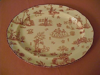 WOOD & SONS Pink / Red Oval Toile de Jouy Serving Platter ENGLAND - 12""
