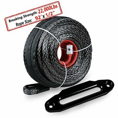 """92' 1/2"""" Synthetic Winch Rope 22000 LBS w/Protective Sleeve + 10"""" Hawse Fairlead"""