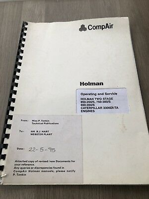 Compair Holman 840-250,750-300,650-350 Two Stage Air Compressor Operating Servi