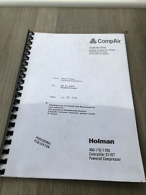 Compair Holman 400-170 Portable Air Compressor Cat 3116T Illustrated Parts List