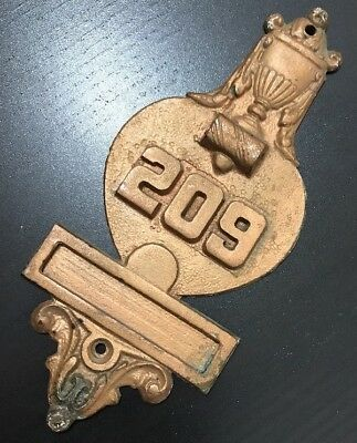 Antique Brass Door Knocker Plaque Numbered Architecture Salvage Gold Cup 209 VTG