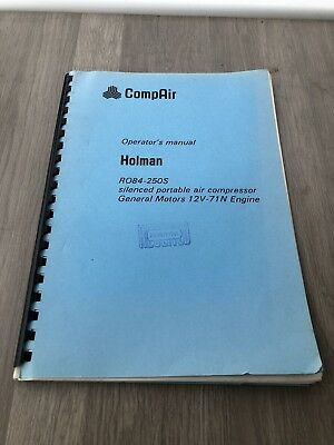 Compair Holman Ro840-250S Portable Air Compressor  840-250 Psi Operators Manual