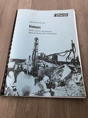 Compair Holman Ro75-170 Portable Air Compressor 750 170Psi Operators Manual Gm