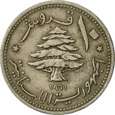 [#522728] Lebanon, 10 Piastres, 1961, VF(20-25), Copper-nickel, KM:24