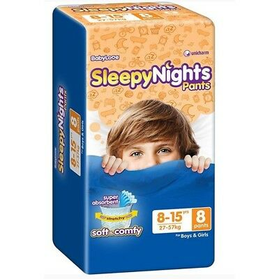 3 x Baby Love Sleepy Night Pants 8-15 Yrs (24-57 kgs) - 8 Pack
