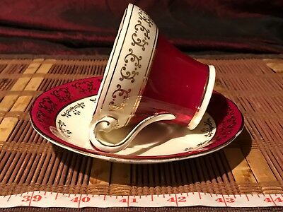 AYNSLEY Cup and Saucer Maroon w/ Gold Design Made in England