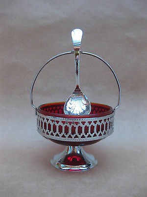 Vintage Ruby Red Glass & Chrome Plate Sugar Bowl & Spoon