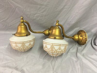 Antique Brass Victorian Sconce Pair Gold Guild Stenciled Glass Globes Vtg 33-18E