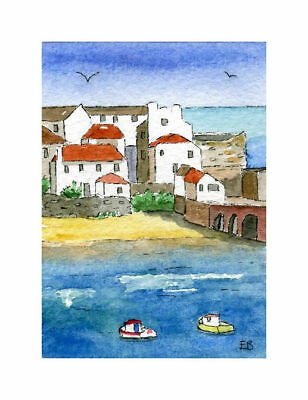 St. Ives, Cornwall, ACEO Art Card original watercolour painting