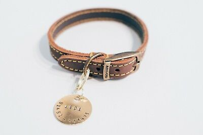 Brass / Nickel Dog Tag / Hand Stamped / Personalised Name Number / Pet ID