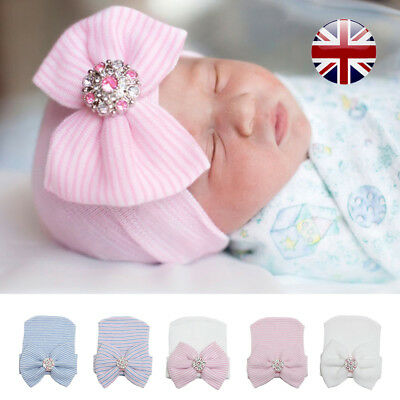 1x Soft Baby Girl Infant  Striped Hat With Bow Cap Newborn Beanie Diomand